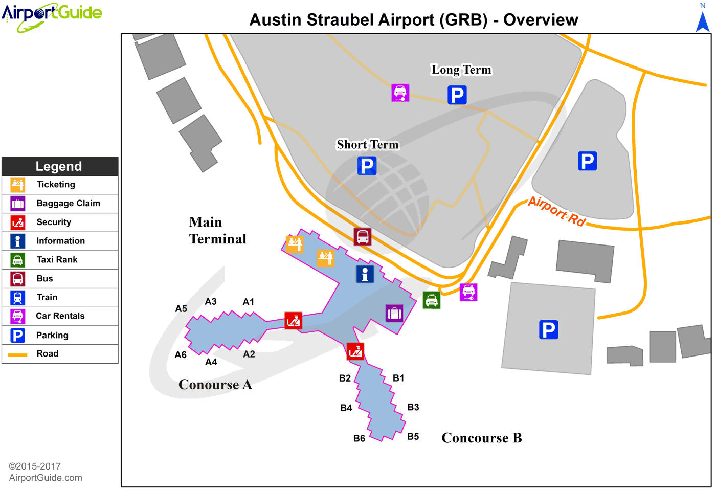 Green Bay - Green Bay-Austin Straubel International (GRB) Airport Terminal Map - Overview