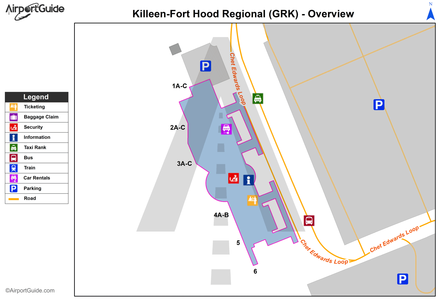 Fort Hood/Killeen - Robert Gray AAF (GRK) Airport Terminal Map - Overview