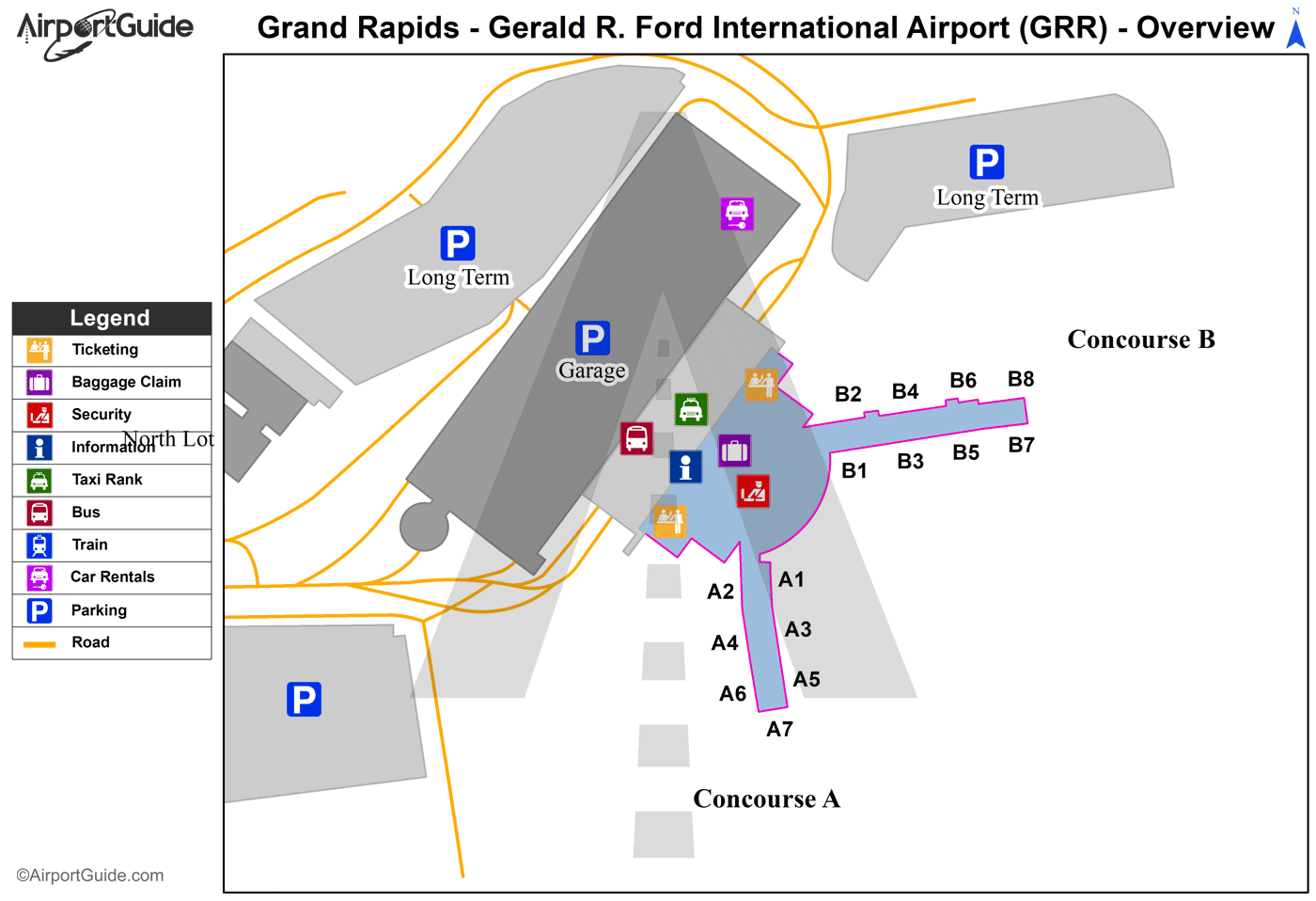 Grand Rapids - Gerald R Ford International (GRR) Airport Terminal Map - Overview