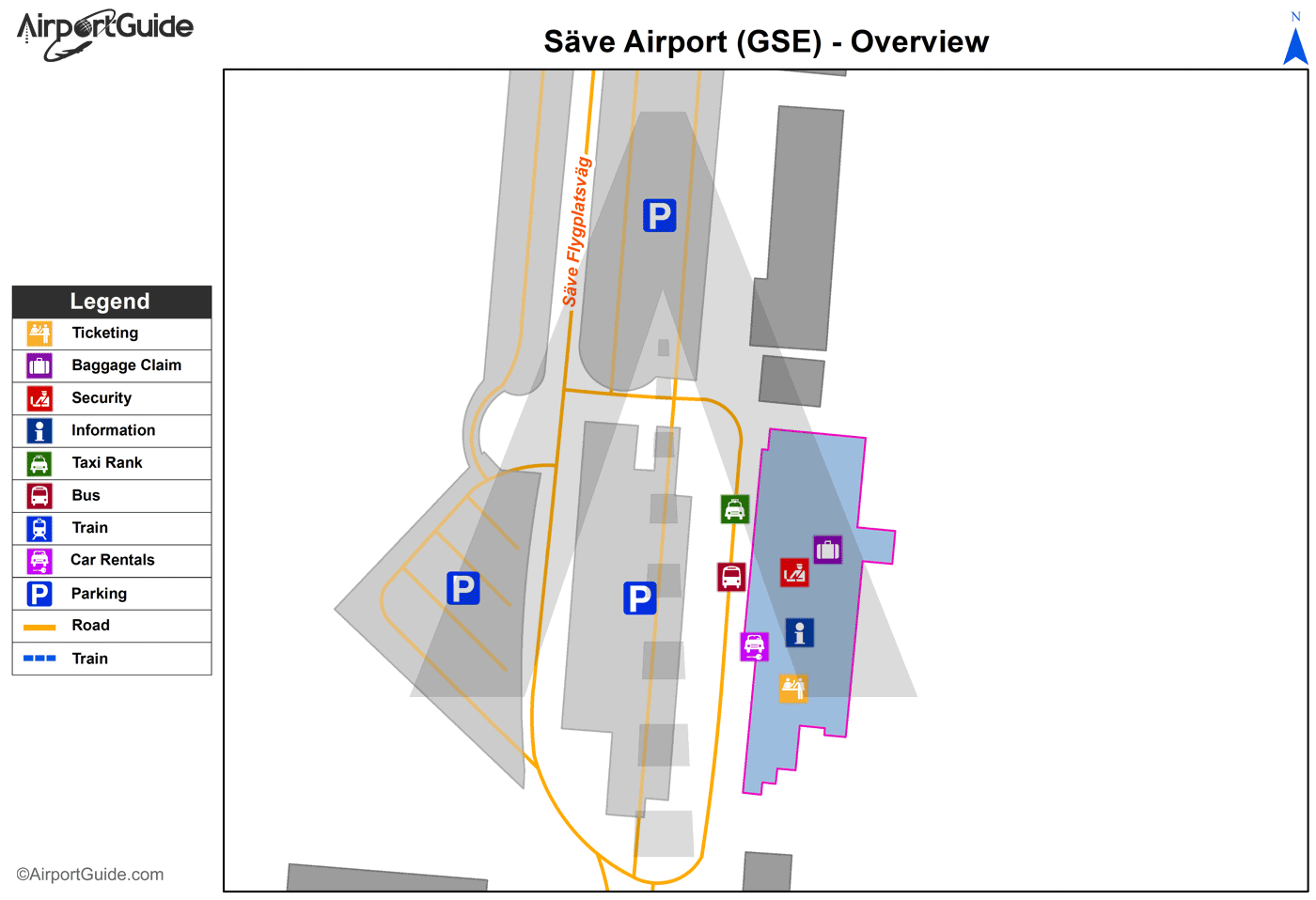 Gothenburg - Säve (GSE) Airport Terminal Map - Overview