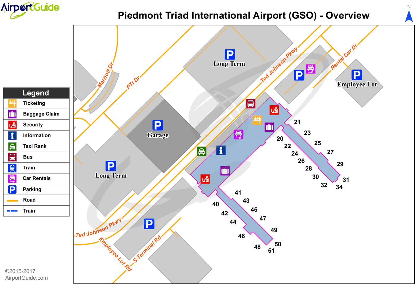 Greensboro - Piedmont Triad International (GSO) Airport Terminal Map - Overview