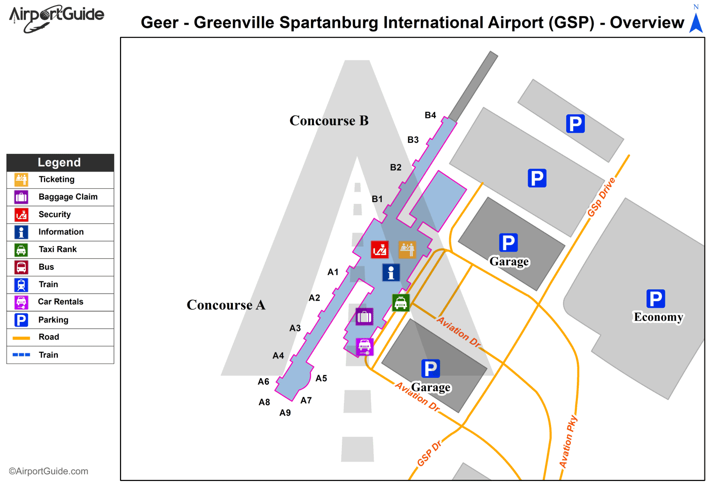 Greer - Greenville Spartanburg International (GSP) Airport Terminal Map - Overview
