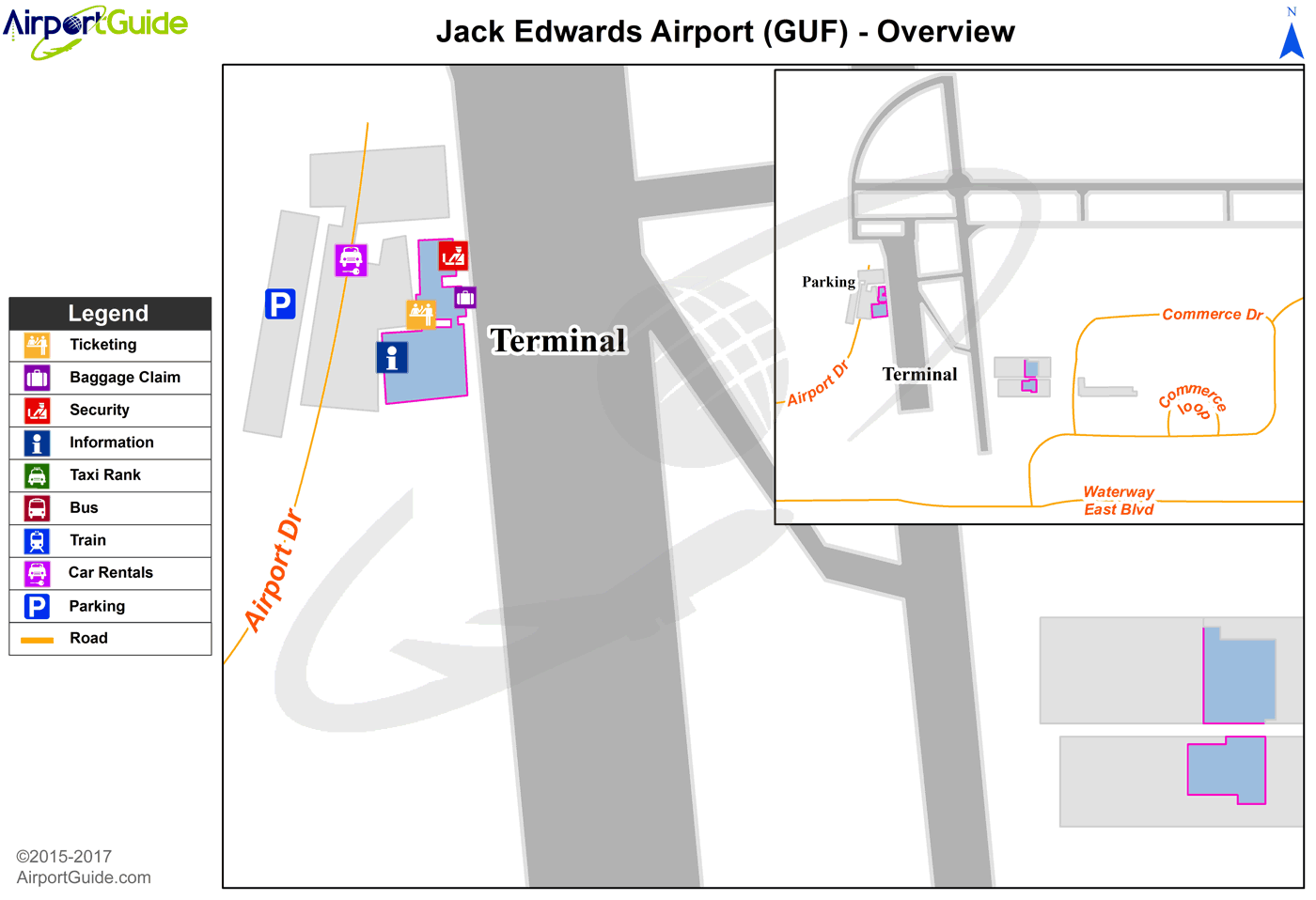 Gulf Shores - Jack Edwards National (GUF) Airport Terminal Map - Overview