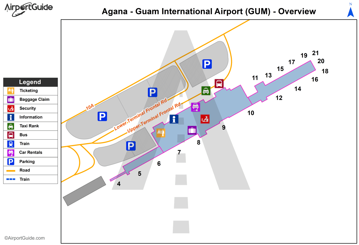 Agana - Guam International (GUM) Airport Terminal Map - Overview