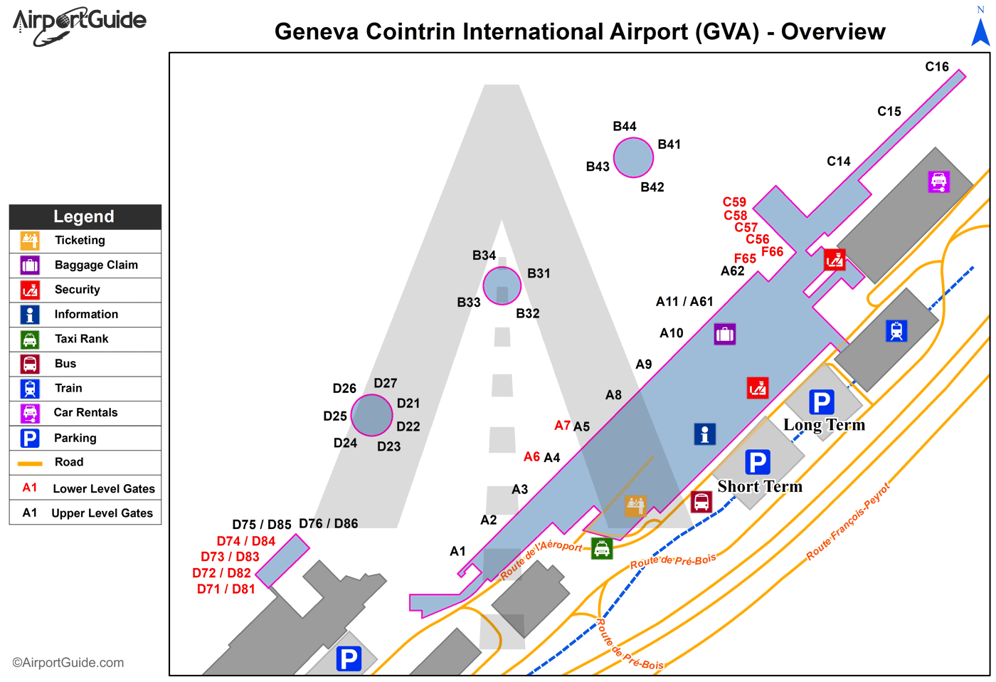 Geneva - Geneva Cointrin International (GVA) Airport Terminal Map - Overview