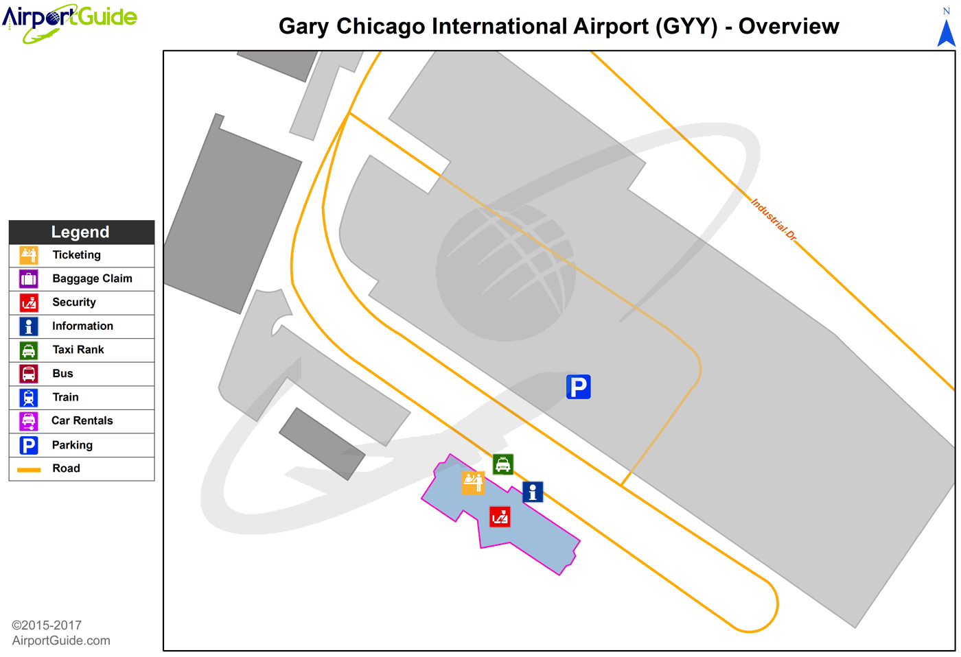 Gary - Jasper County (GYY) Airport Terminal Map - Overview