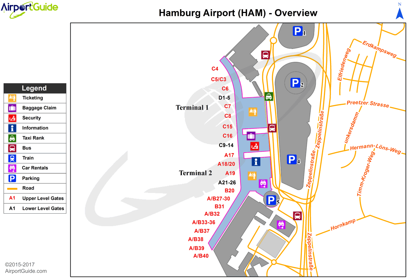 Hamburg - Hamburg (HAM) Airport Terminal Map - Overview