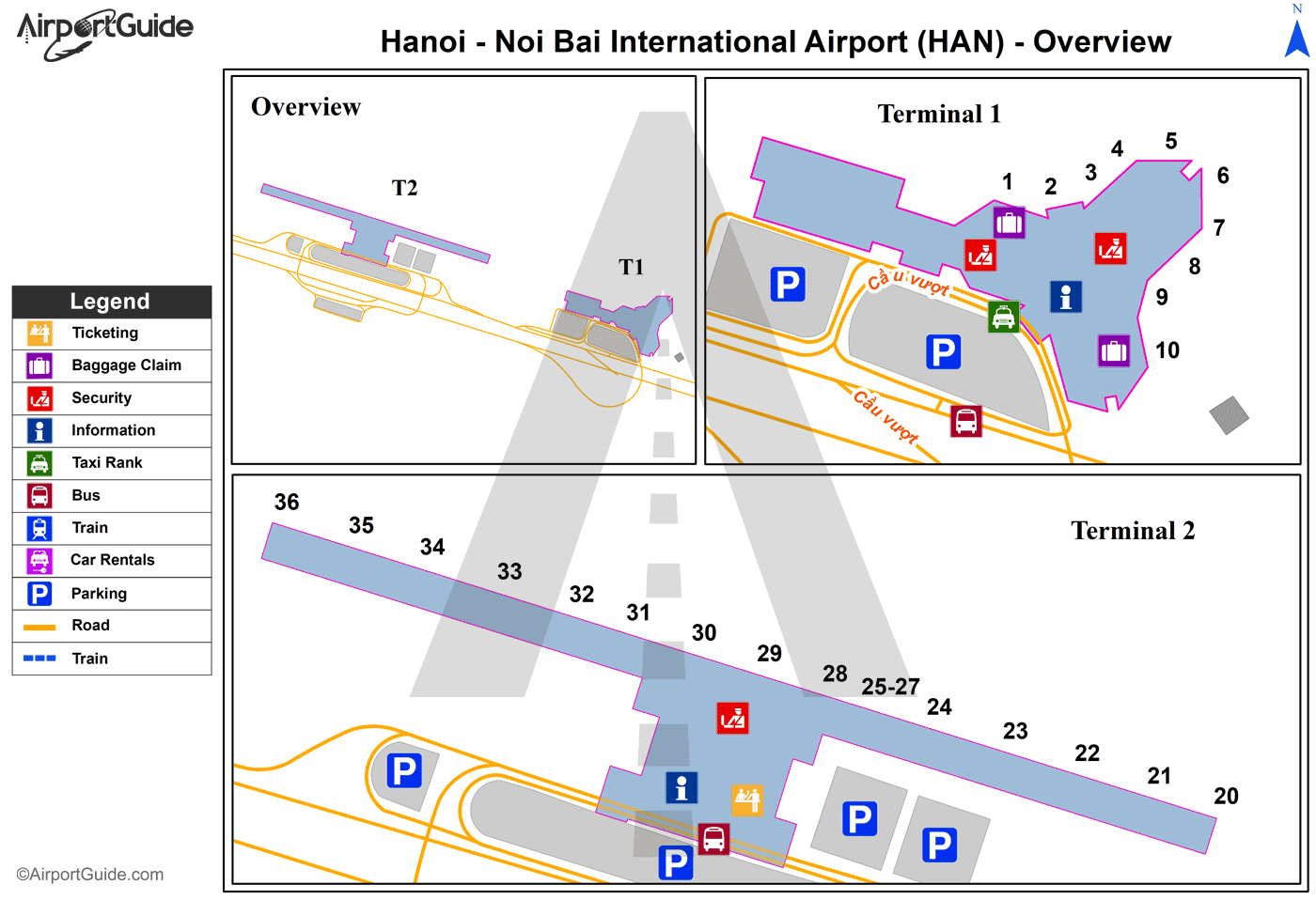 Hanoi - Noi Bai International (HAN) Airport Terminal Map - Overview