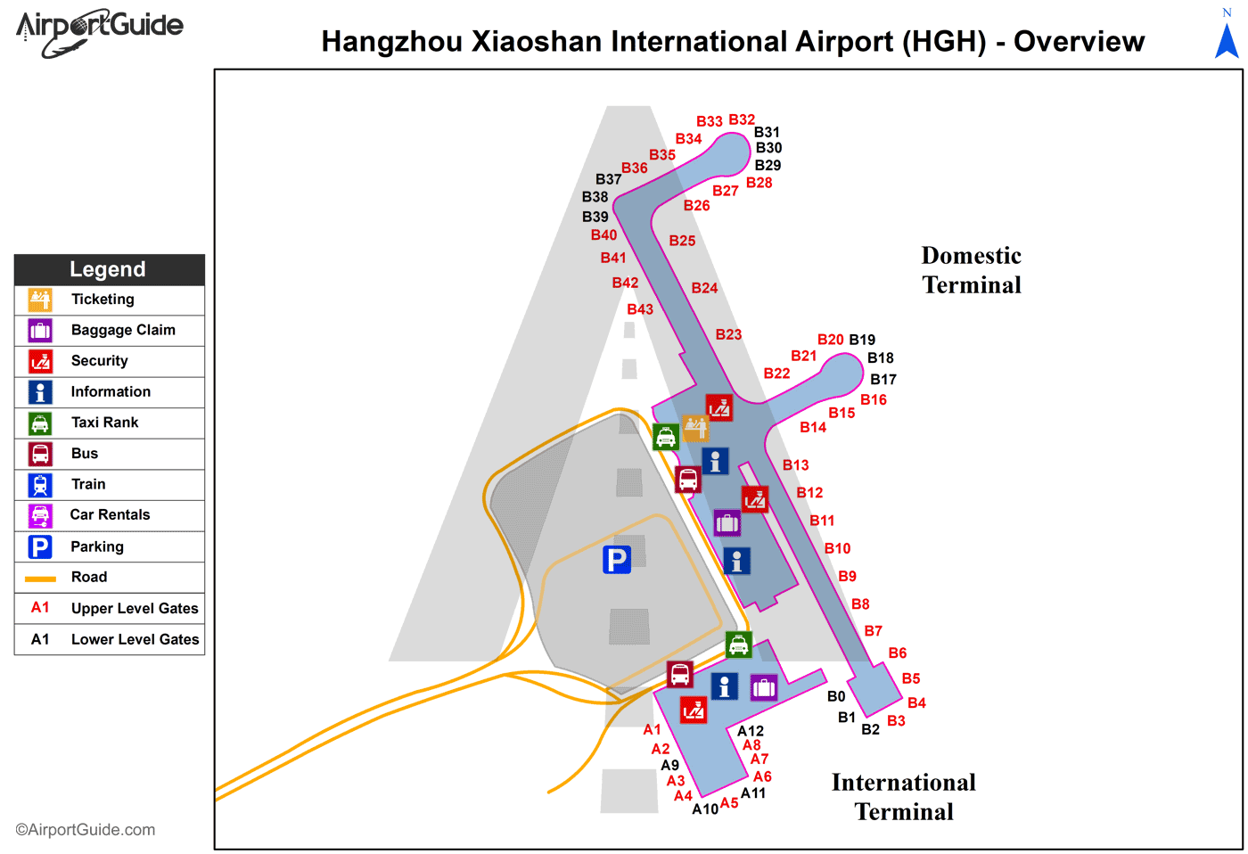 Hangzhou - Hangzhou Xiaoshan International (HGH) Airport Terminal Map - Overview