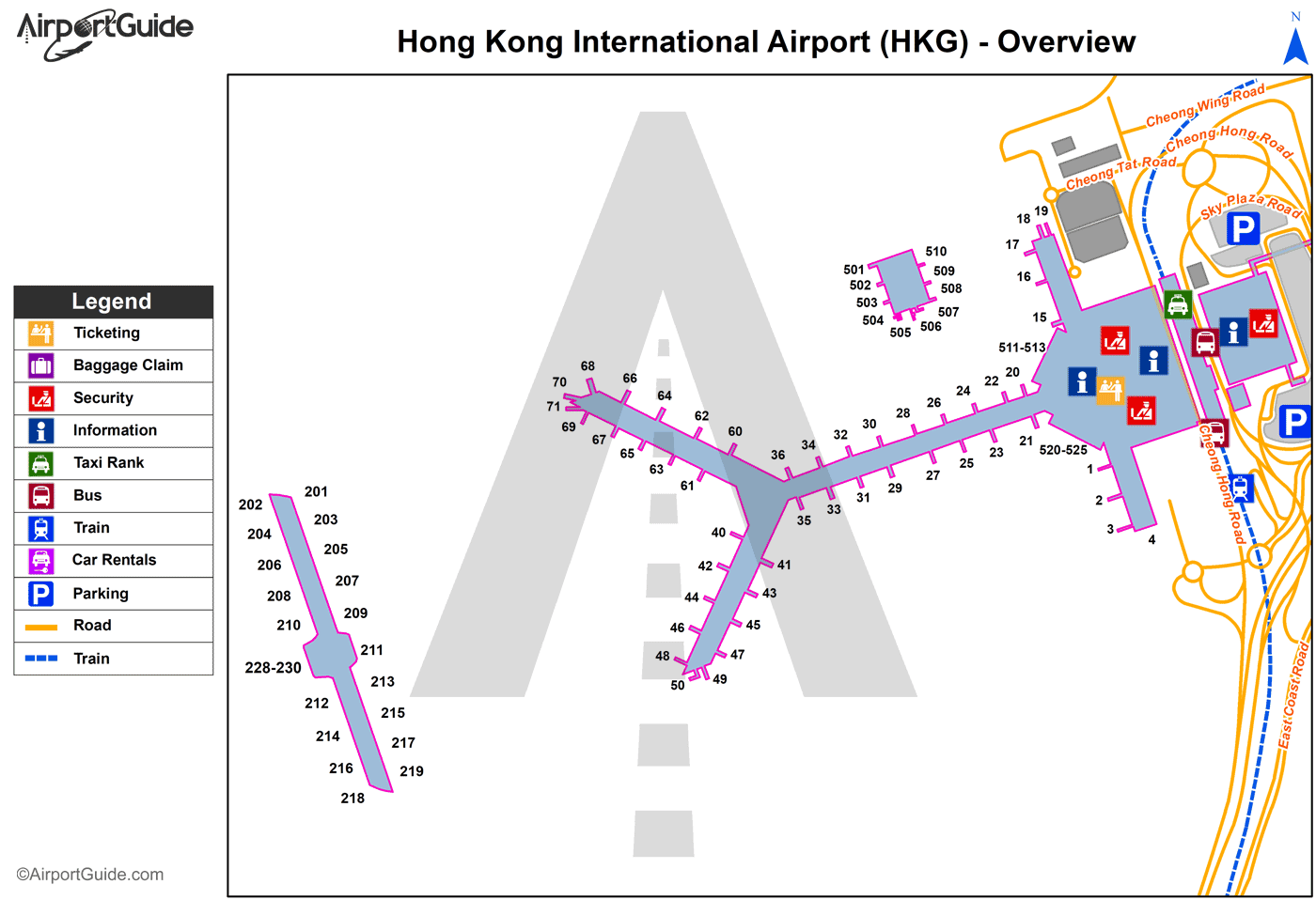 Hong Kong - Hong Kong International (HKG) Airport Terminal Map - Overview