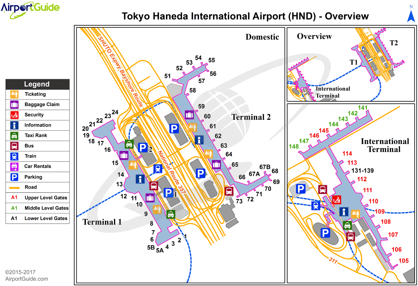 Tokyo - Tokyo International (HND) Airport Terminal Map - Overview