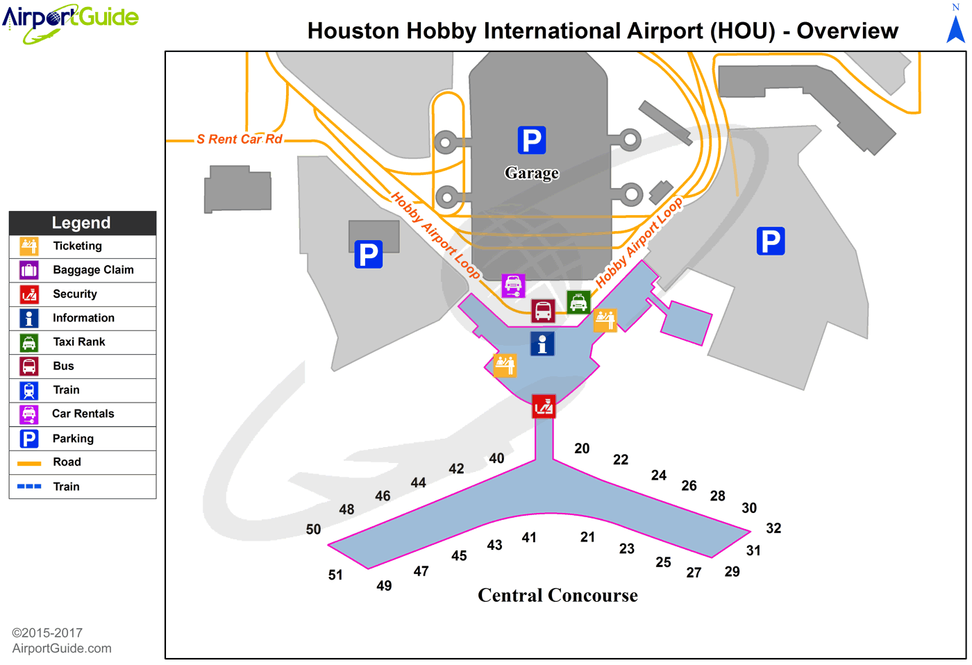 Houston - William P Hobby (HOU) Airport Terminal Map - Overview