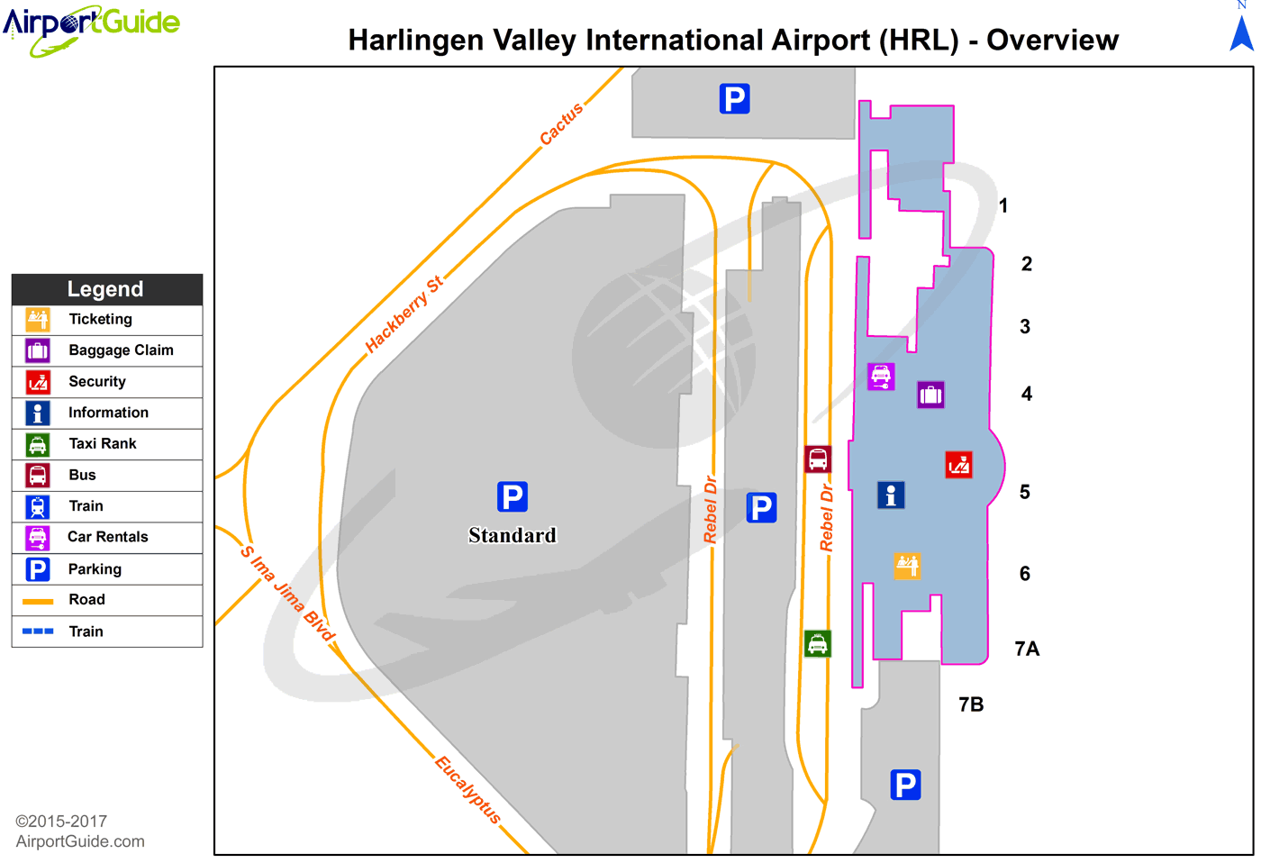 Harlingen - Zapata County (HRL) Airport Terminal Map - Overview