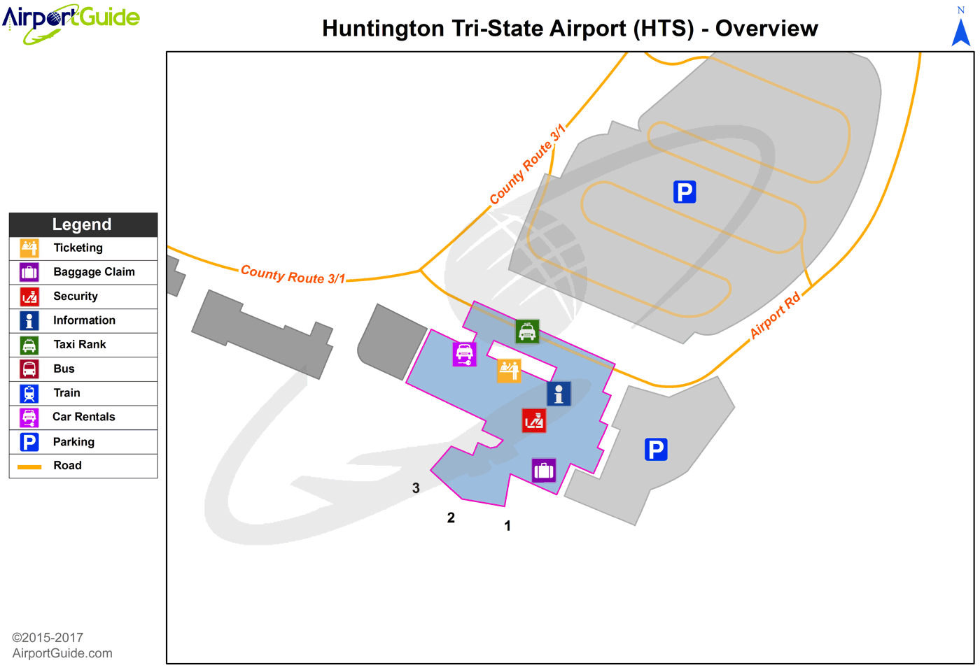 Huntington - Tri-State/Milton J Ferguson Field (HTS) Airport Terminal Map - Overview