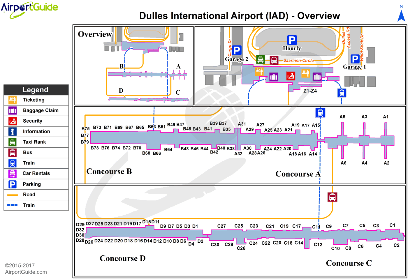 IAD Airport Terminal Map - Overview