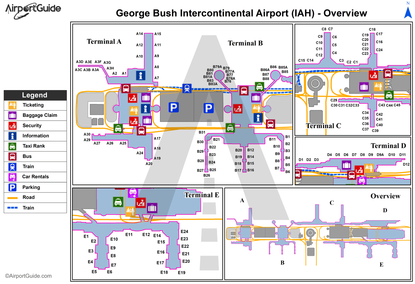 Houston - George Bush Intercontinental/Houston (IAH) Airport Terminal Map - Overview