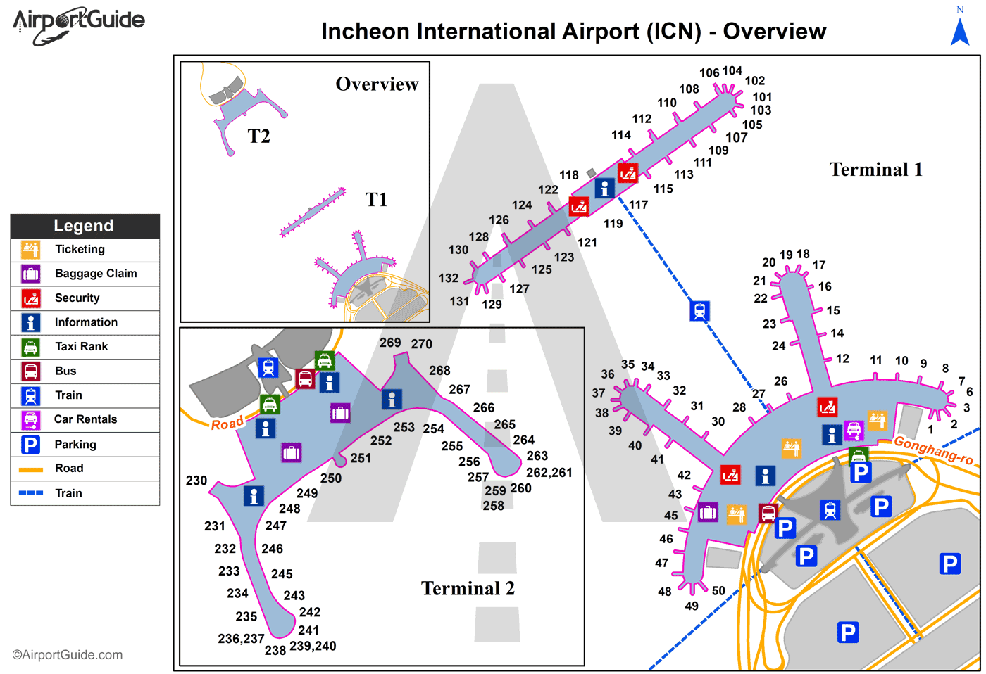 Seoul - Incheon International (ICN) Airport Terminal Map - Overview