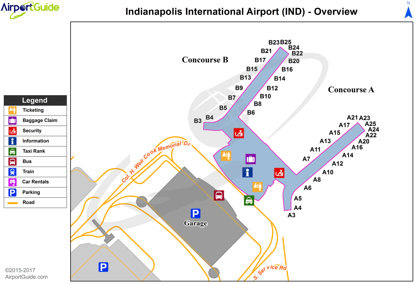 Indianapolis - Indianapolis International (IND) Airport Terminal Map - Overview