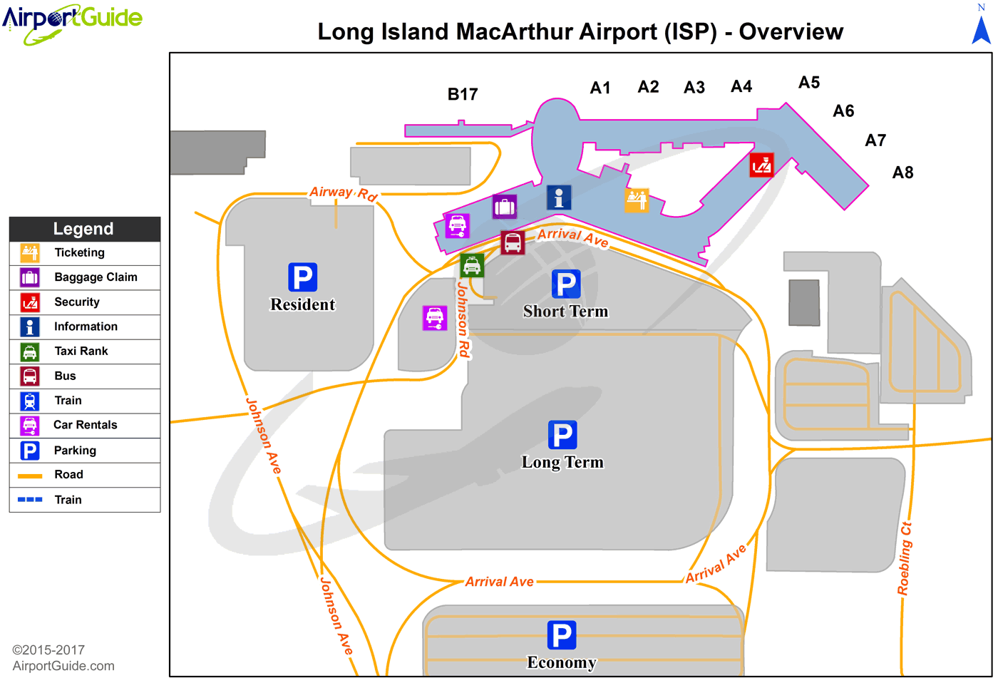 New York - Long Island Mac Arthur (ISP) Airport Terminal Map - Overview
