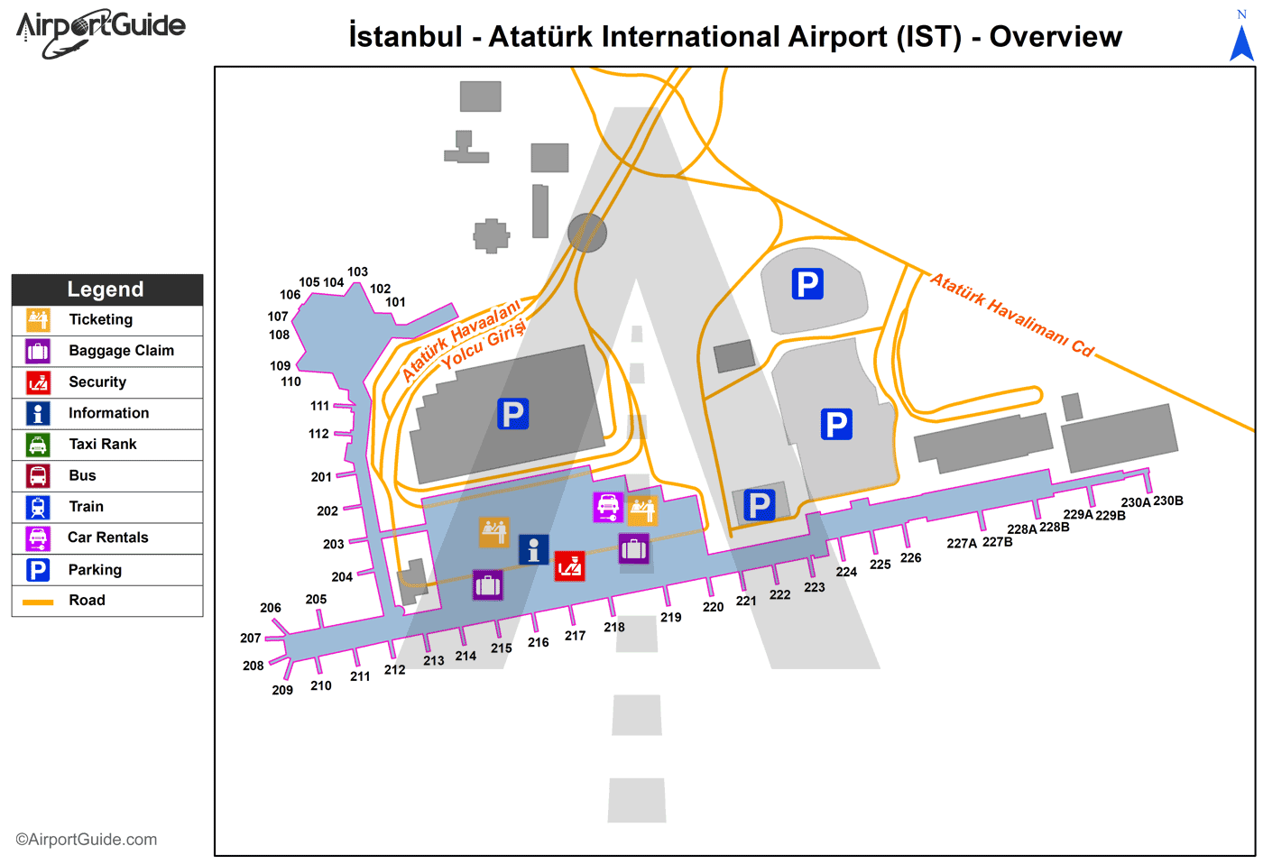 İstanbul - Atatürk International (IST) Airport Terminal Map - Overview