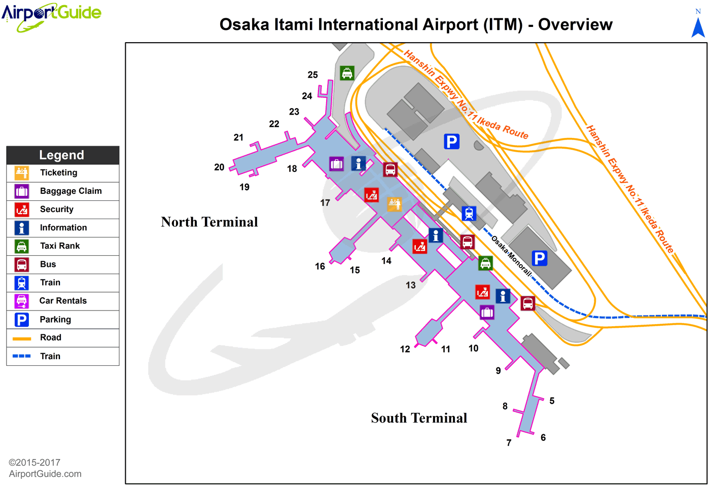 Osaka - Osaka International (ITM) Airport Terminal Map - Overview