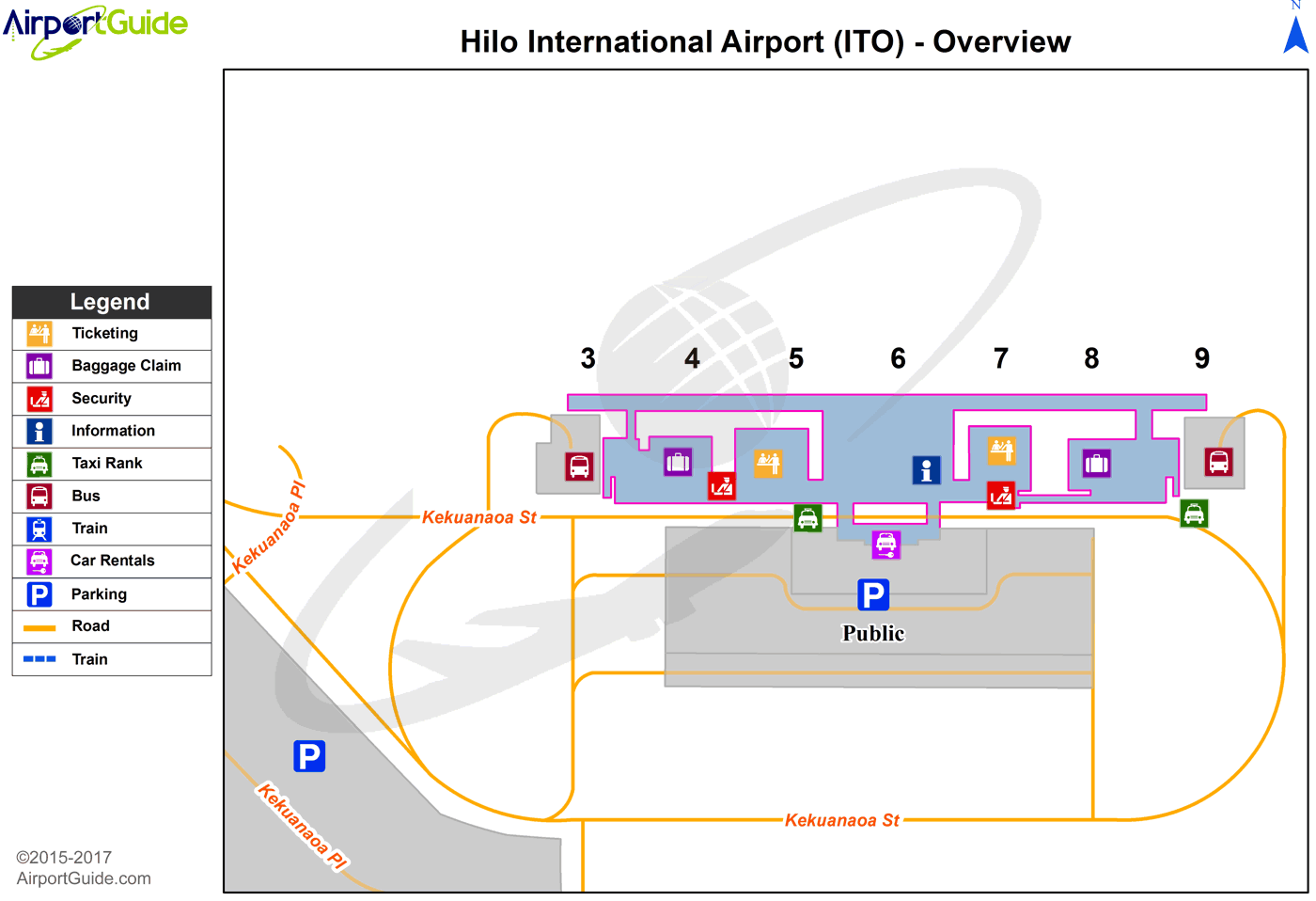 Hilo - Hilo International (ITO) Airport Terminal Map - Overview