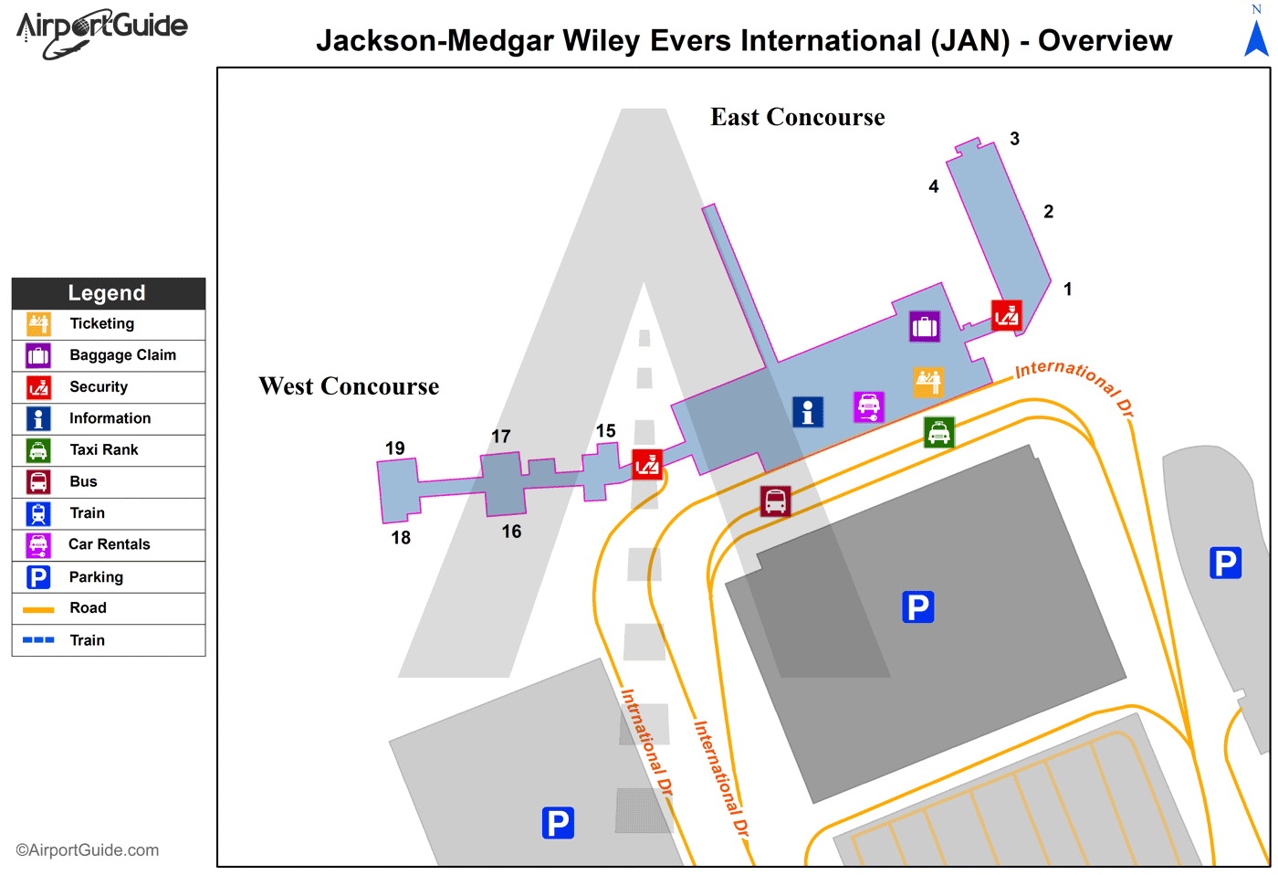 Jackson - Jackson-Medgar Wiley Evers International (JAN) Airport Terminal Map - Overview