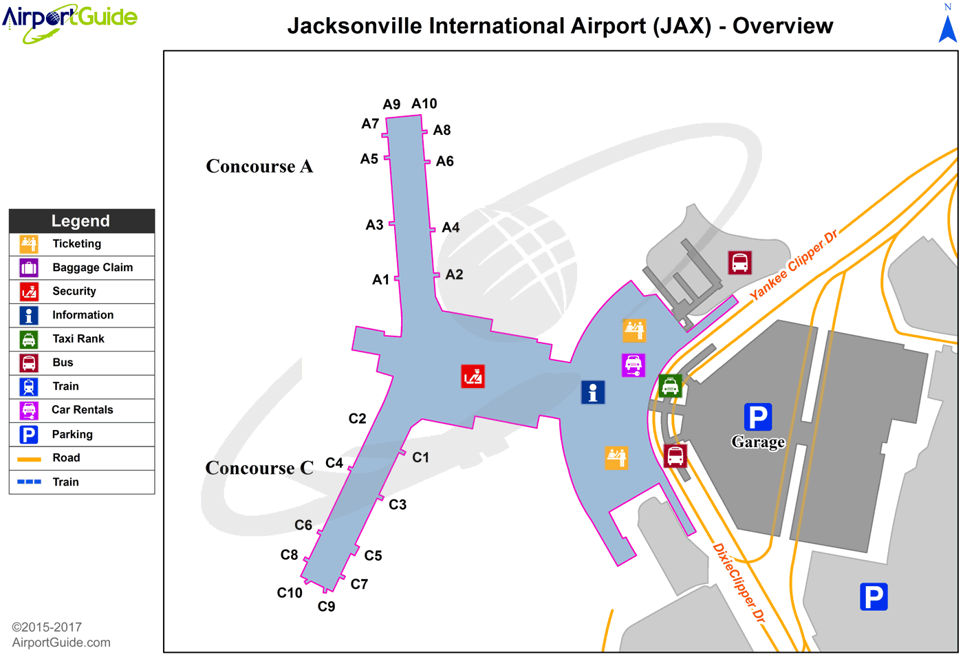 Jacksonville - Jacksonville International (JAX) Airport Terminal Map - Overview