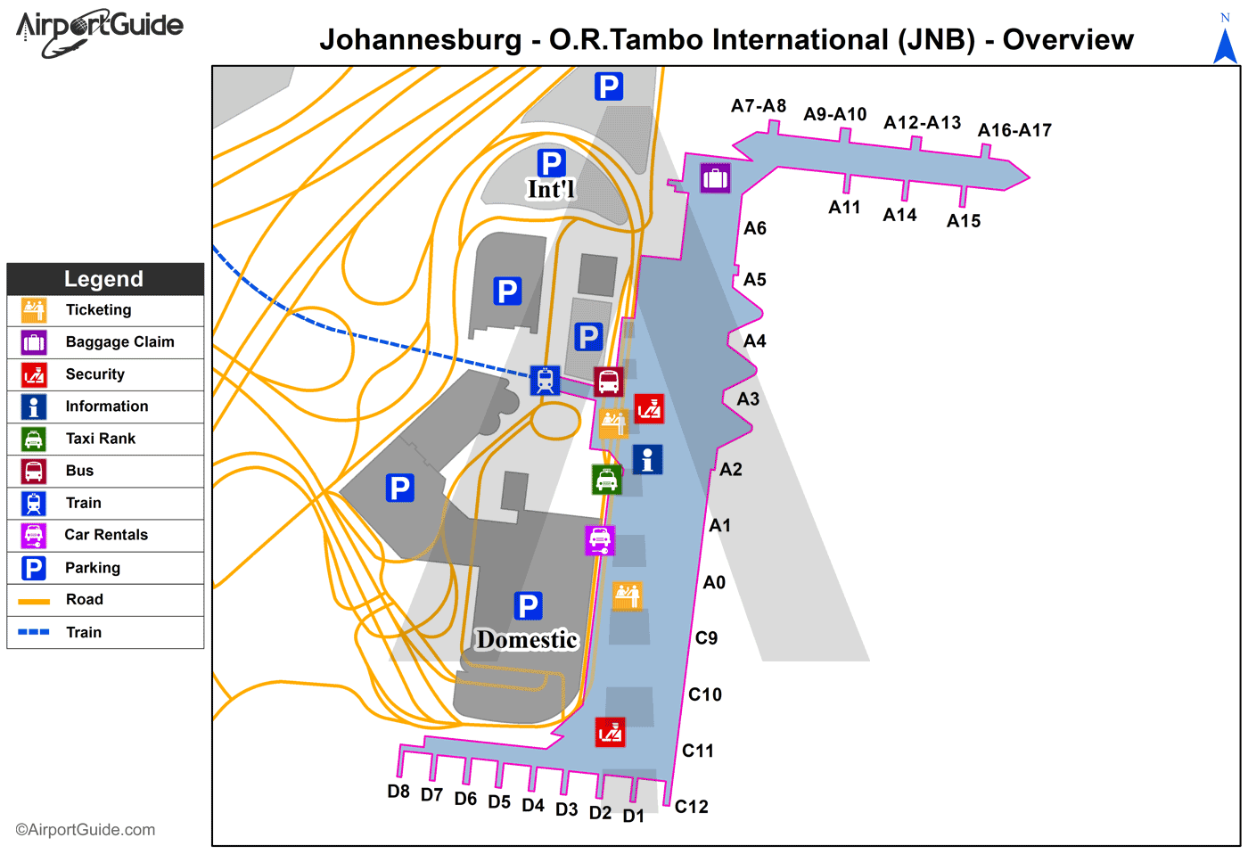 Johannesburg - OR Tambo International (JNB) Airport Terminal Map - Overview