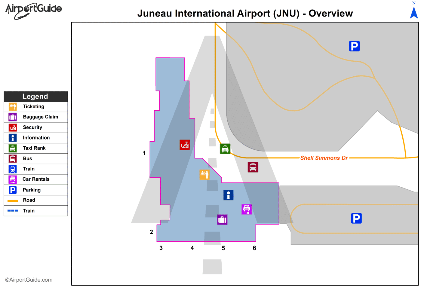 Juneau - Juneau International (JNU) Airport Terminal Map - Overview