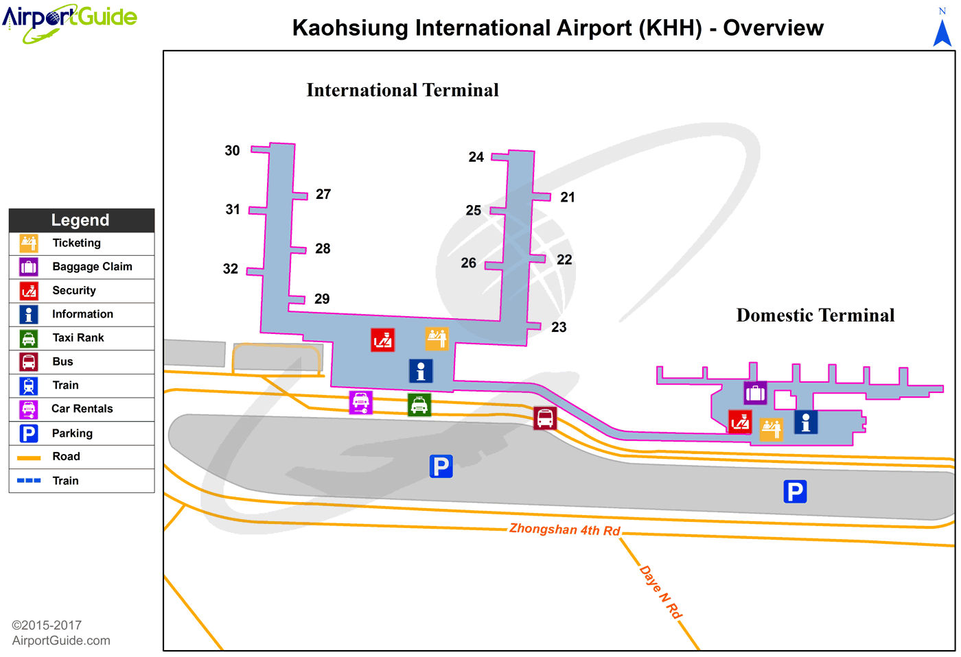 Kaohsiung City - Kaohsiung International (KHH) Airport Terminal Map - Overview