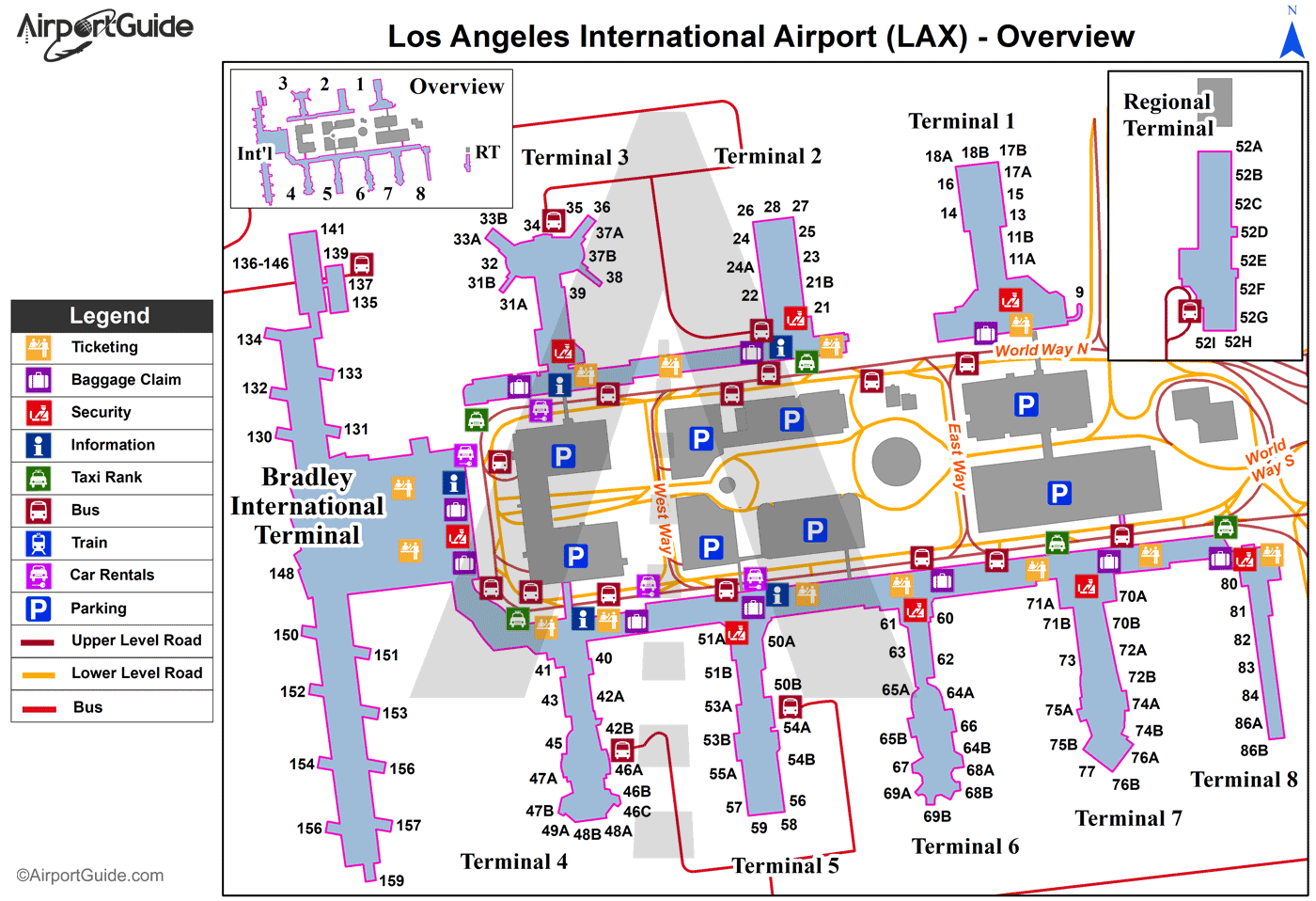 Los Angeles - Los Angeles International (LAX) Airport Terminal Map - Overview
