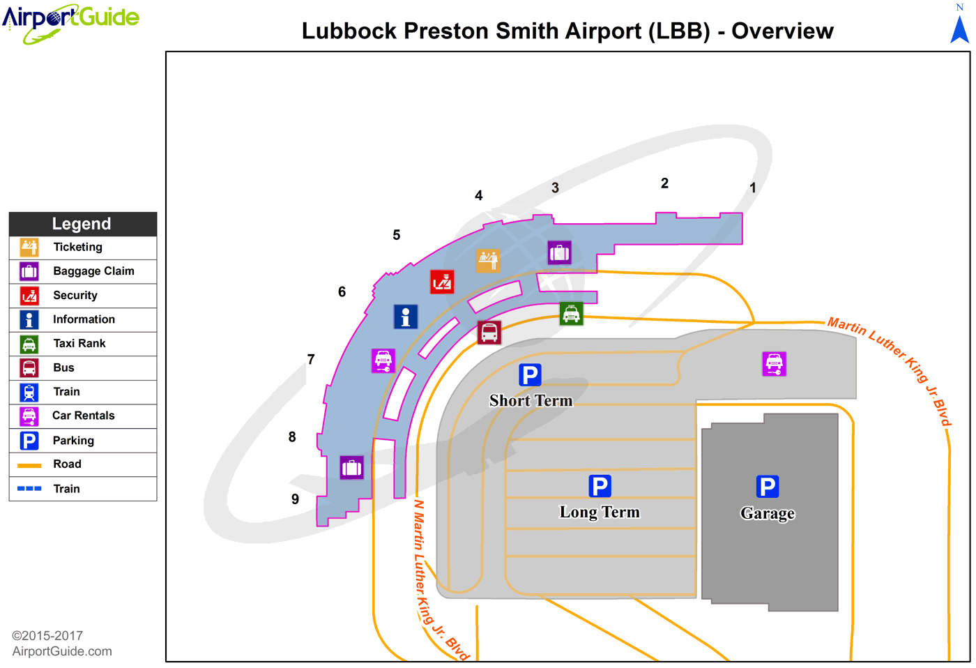 Lubbock - Lubbock Preston Smith International (LBB) Airport Terminal Map - Overview