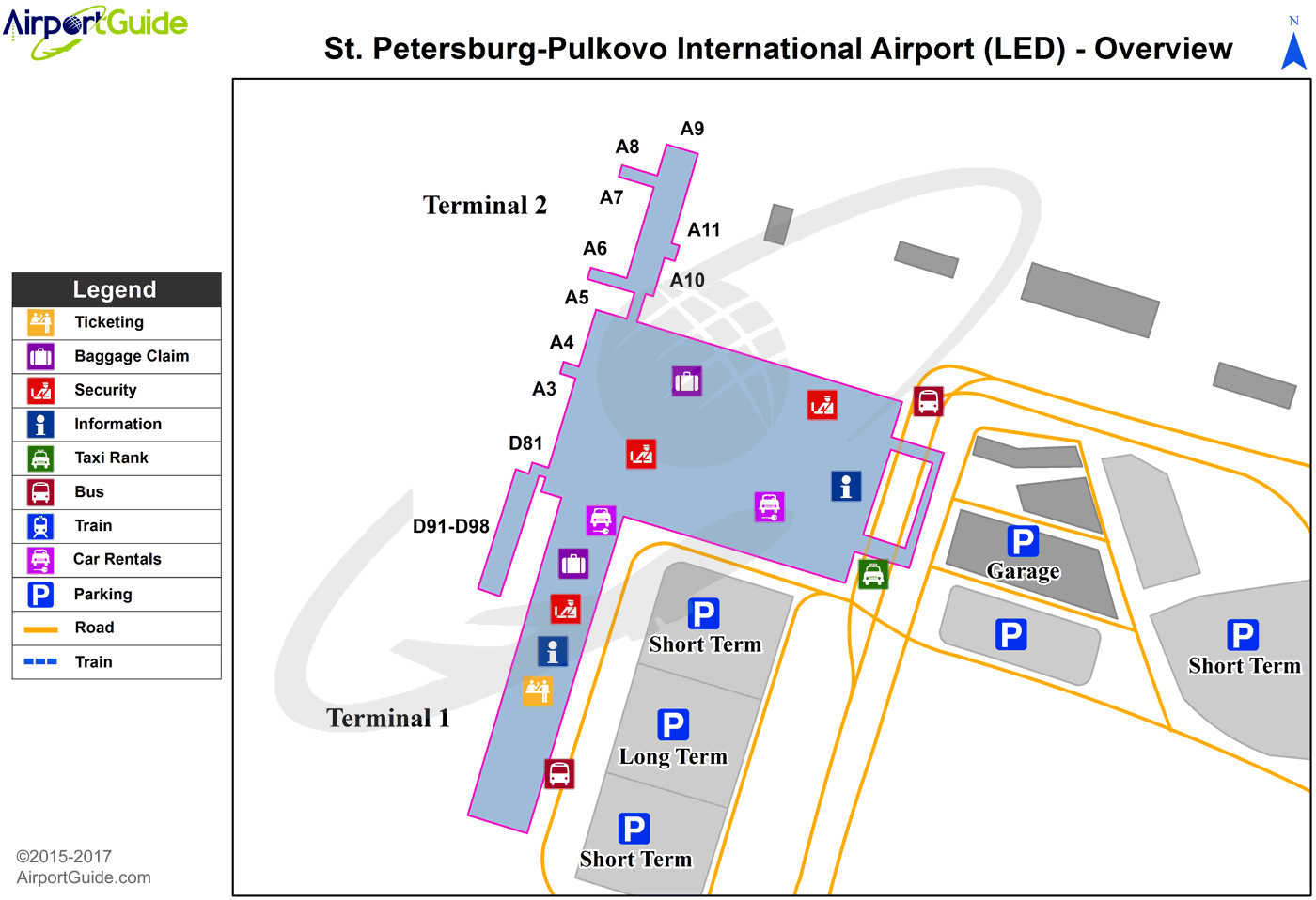 St. Petersburg - Pulkovo (LED) Airport Terminal Map - Overview