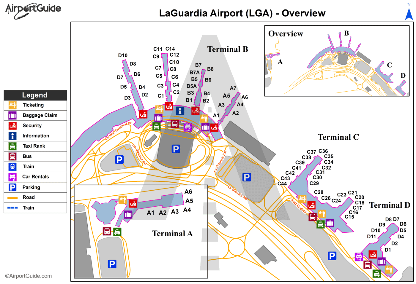 New York - Laguardia (LGA) Airport Terminal Map - Overview