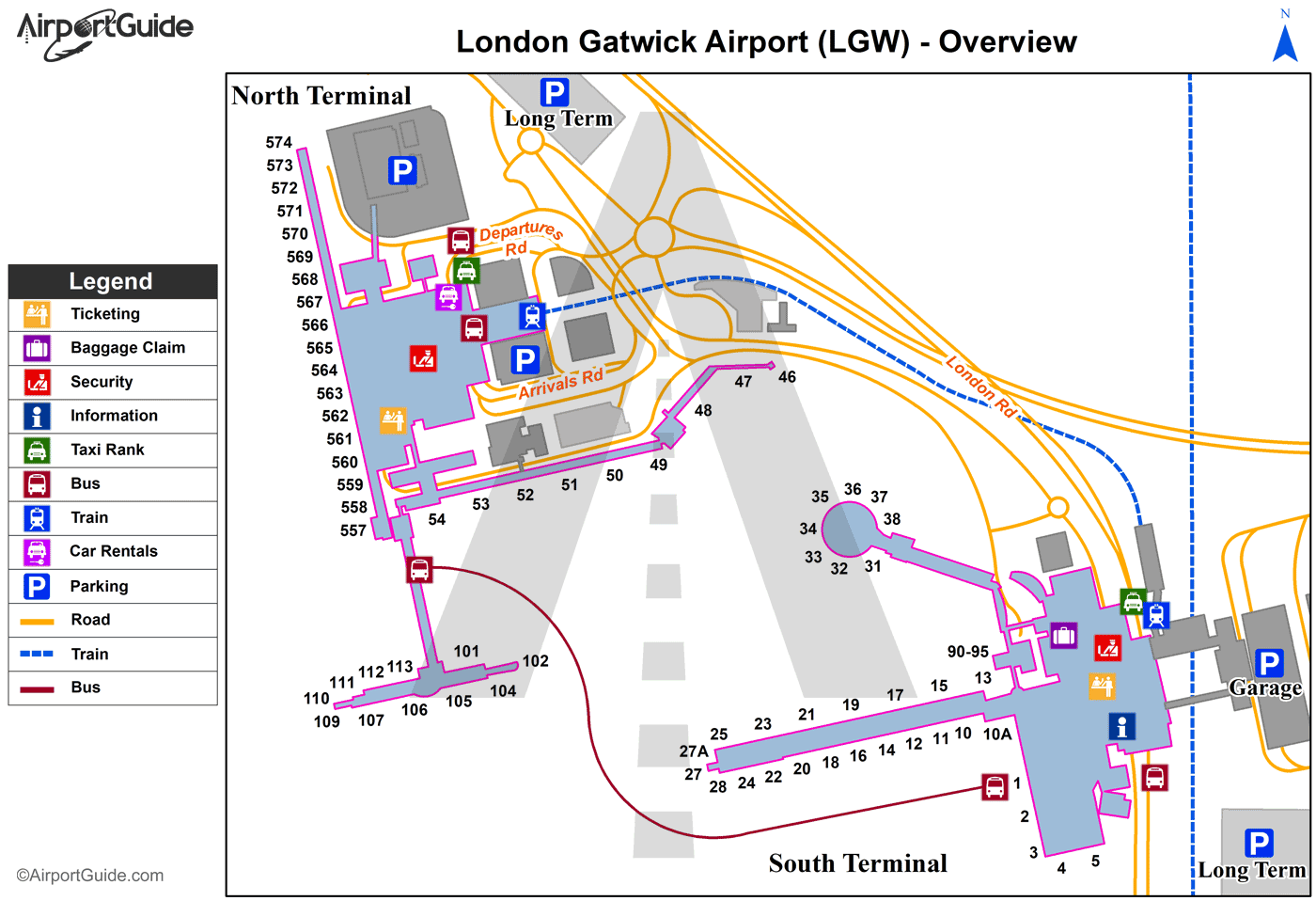 London - London Gatwick (LGW) Airport Terminal Map - Overview