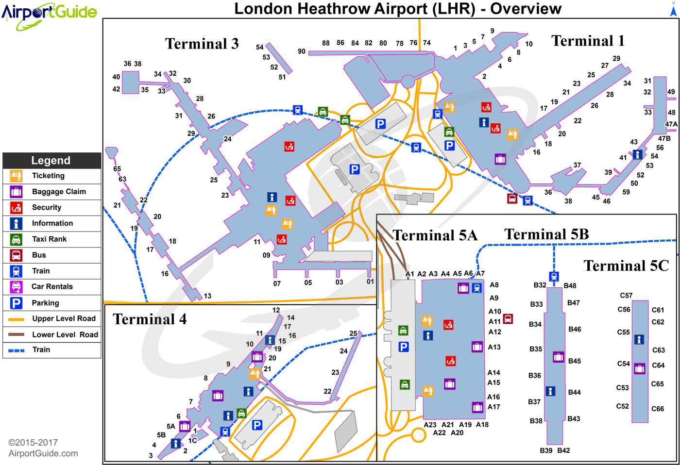 LHR Airport Terminal Map - Overview
