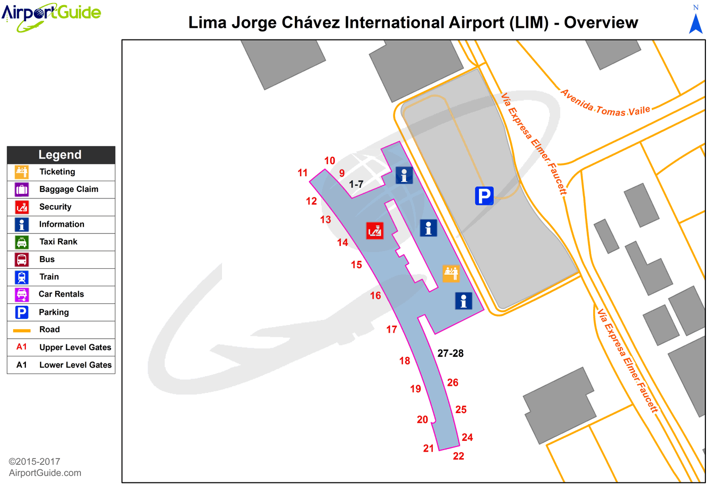 Lima - Jorge Chávez International (LIM) Airport Terminal Map - Overview