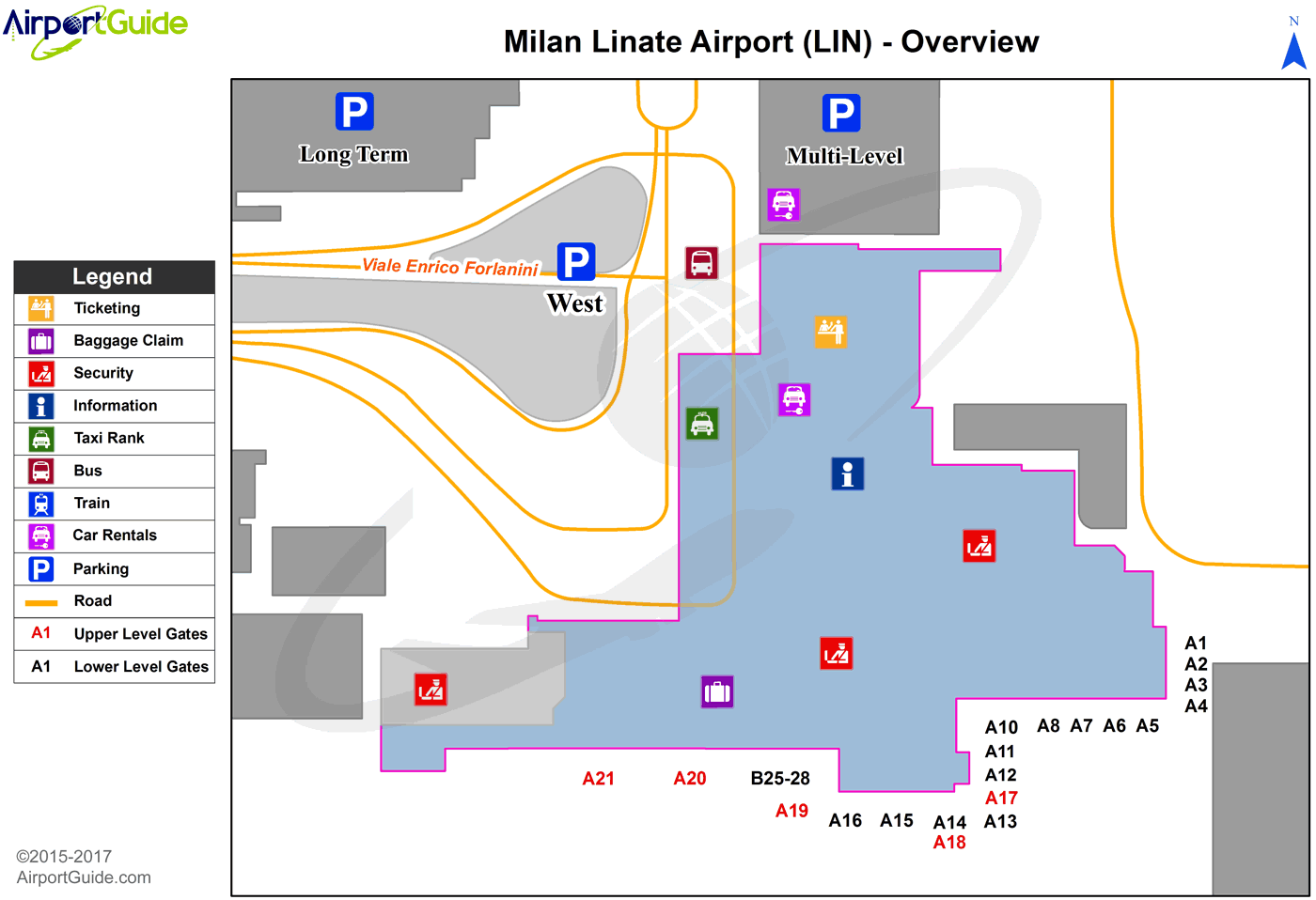 Milan - Linate (LIN) Airport Terminal Map - Overview