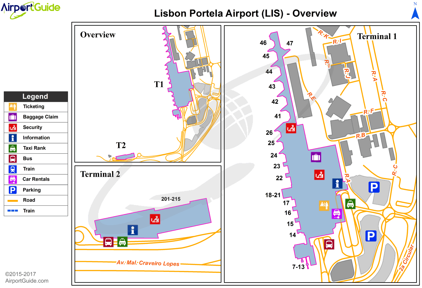 Lisbon - Cascais (LIS) Airport Terminal Map - Overview