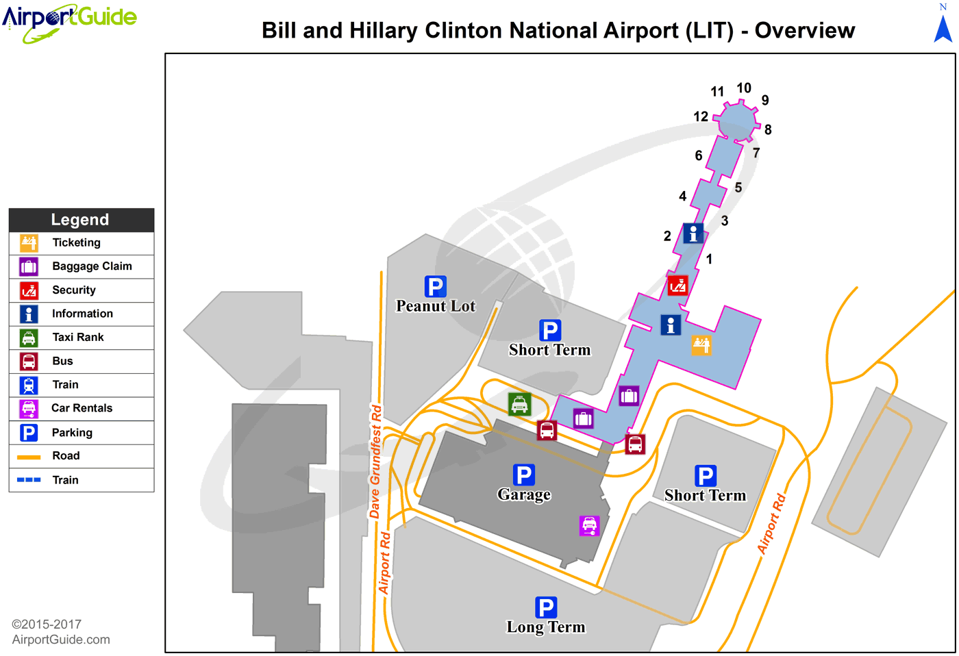 Little Rock - Bill And Hillary Clinton National/Adams Field (LIT) Airport Terminal Map - Overview