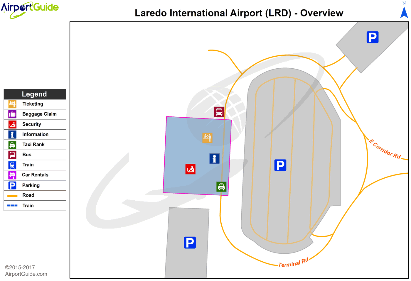 Laredo - Pleasanton Municipal (LRD) Airport Terminal Map - Overview
