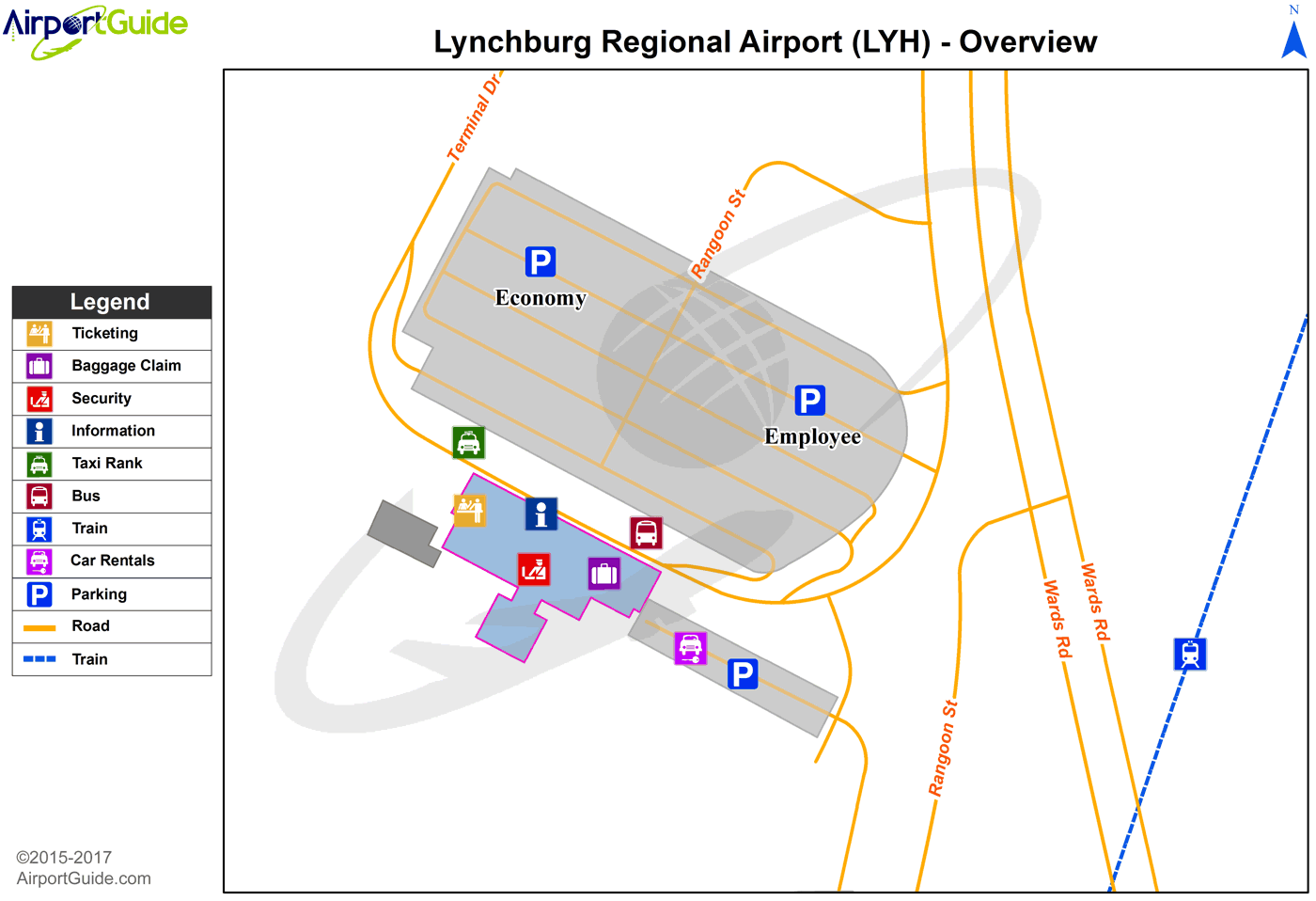 Lynchburg - Lynchburg Regional/Preston Glenn Field (LYH) Airport Terminal Map - Overview