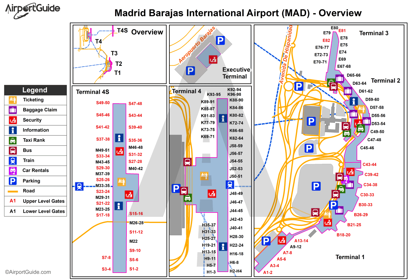 Madrid - Madrid Barajas International (MAD) Airport Terminal Map - Overview