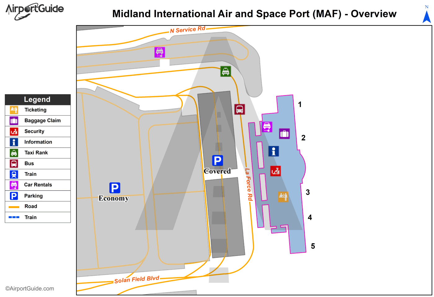 Midland - Midland International Air And Space Port (MAF) Airport Terminal Map - Overview