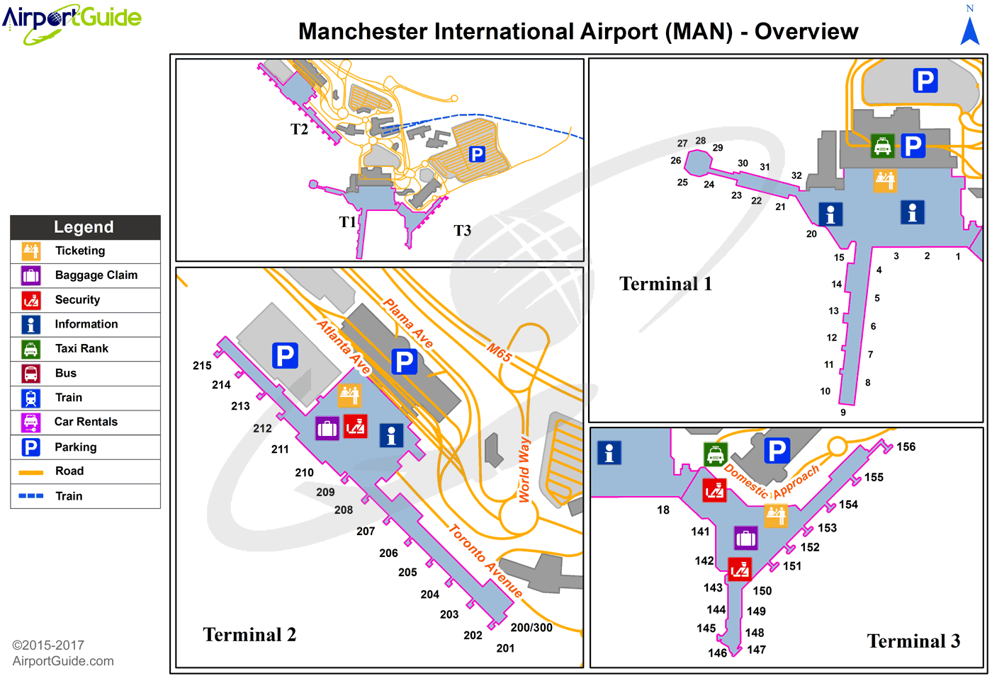Manchester - Manchester (MAN) Airport Terminal Map - Overview