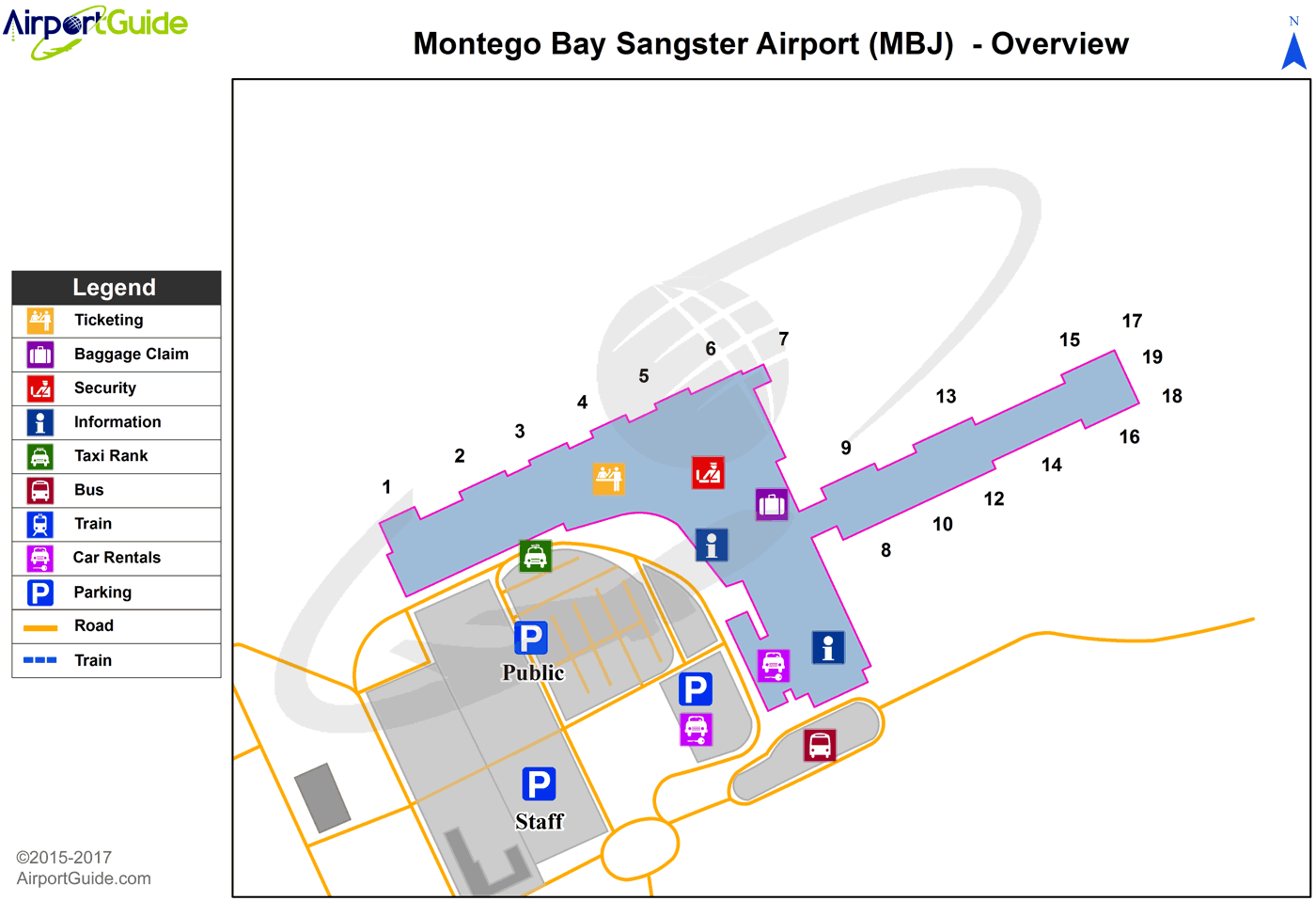 Montego Bay - Sangster International (MBJ) Airport Terminal Map - Overview