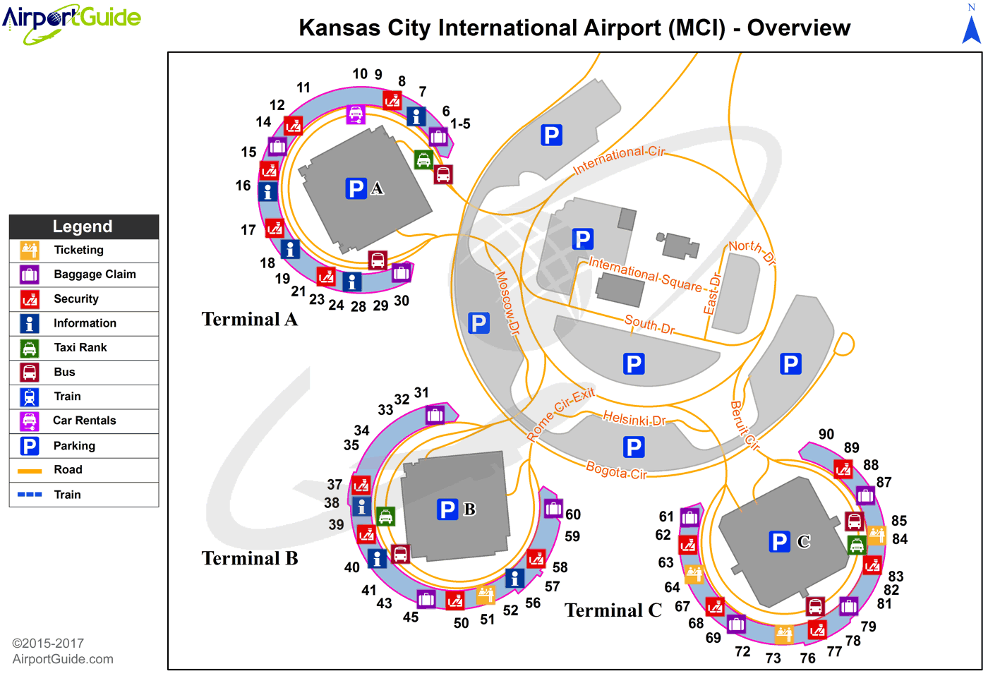 Kansas City - Kansas City International (MCI) Airport Terminal Map - Overview