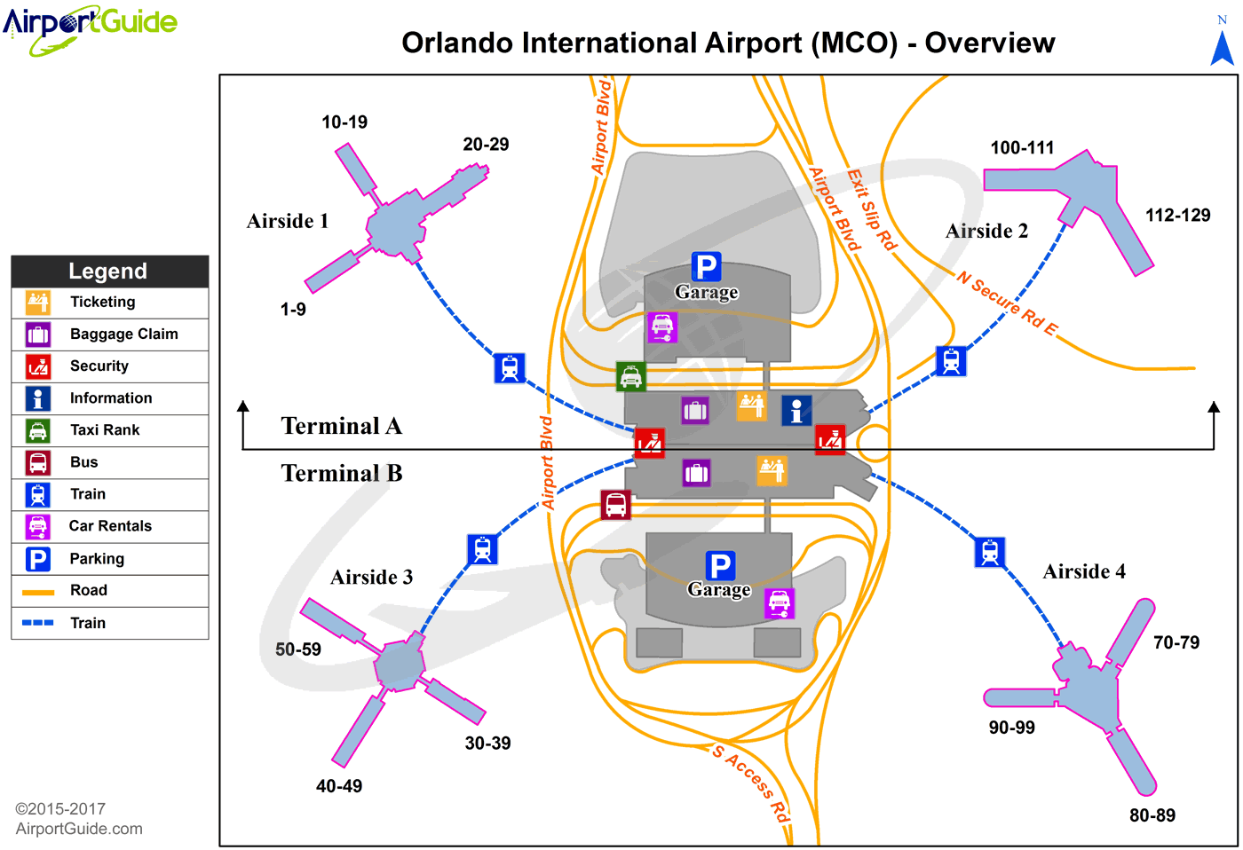 Orlando - Orlando International (MCO) Airport Terminal Map - Overview