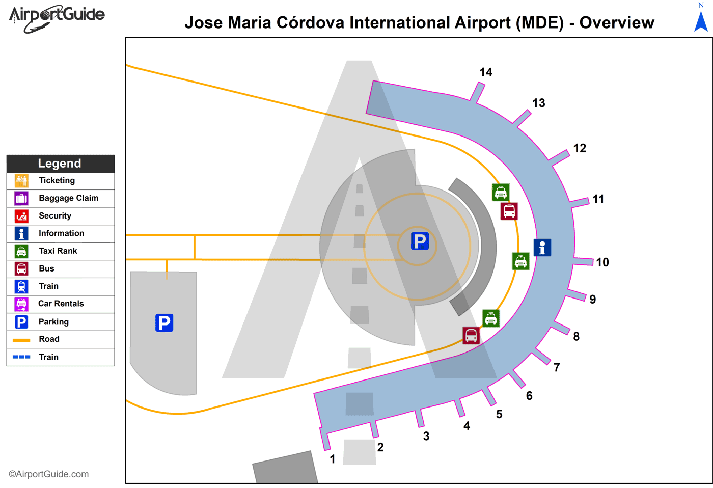 Rionegro - Jose Maria Córdova International Airport (MDE) Airport Terminal Map - Overview